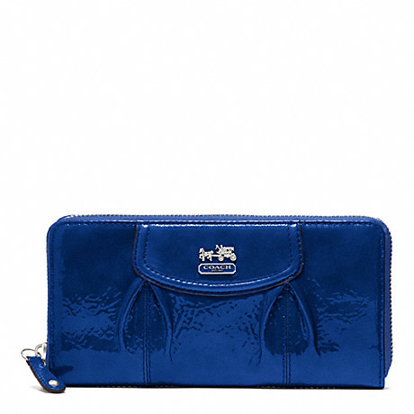 COACH MADISON PATENT ACCORDION ZIP WALLET - SILVER/ULTRAMARINE - f46620