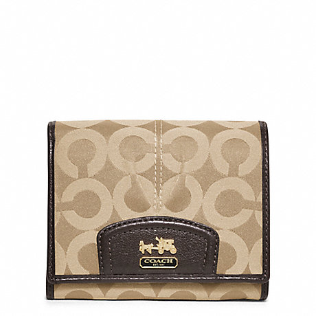 COACH MADISON OP ART SATEEN COMPACT CLUTCH - BRASS/KHAKI/MAHOGANY - f46640