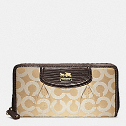 COACH MADISON OP ART SATEEN ACCORDION ZIP WALLET - BRASS/KHAKI/MAHOGANY LIGHT GOLDZARD - F46641