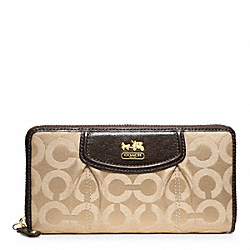 COACH MADISON OP ART SATEEN ACCORDION ZIP WALLET - BRASS/KHAKI/MAHOGANY - F46641