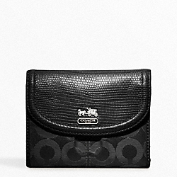 COACH MADISON OP ART SATEEN MEDIUM WALLET - SILVER/BLACK/BLACK LIZARD - F46643