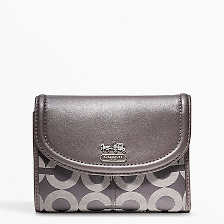 COACH MADISON OP ART SATEEN MEDIUM WALLET - SILVER/OYSTER - f46643