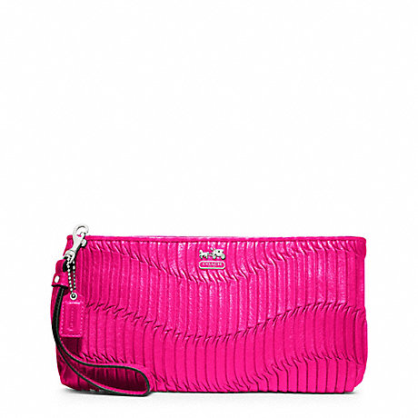 COACH MADISON GATHERED LEATHER ZIP CLUTCH - SILVER/HOT PINK - f46914
