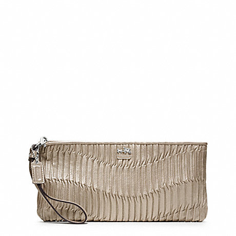 COACH f46914 MADISON GATHERED LEATHER ZIP CLUTCH SILVER/METALLIC