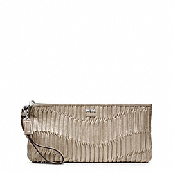 COACH MADISON GATHERED LEATHER ZIP CLUTCH - SILVER/METALLIC - F46914
