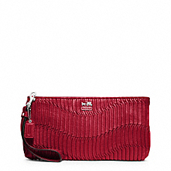 COACH MADISON GATHERED LEATHER ZIP CLUTCH - SILVER/RASPBERRY - F46914