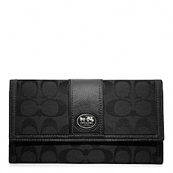 COACH SUTTON SIGNATURE TIEBACK CHECKBOOK WALLET - ONE COLOR - F47299