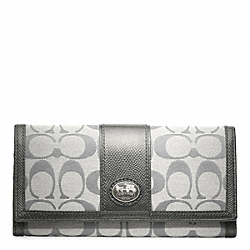 COACH SUTTON SIGNATURE TIEBACK SLIM ENVELOPE - SILVER/SMOKE - F47300