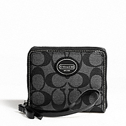 COACH PEYTON MEDIUM ZIP AROUND - SILVER/BLACK GREY/BLACK - F47341