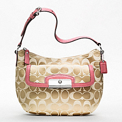 COACH KRISTIN SIGNATURE SATEEN TOP HANDLE POUCH - SILVER/LIGHT KHAKI/ROSE - F47398