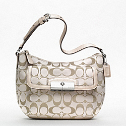 COACH KRISTIN SIGNATURE SATEEN TOP HANDLE POUCH - SILVER/CRM LT KHA/CHAMPAGNE - F47398