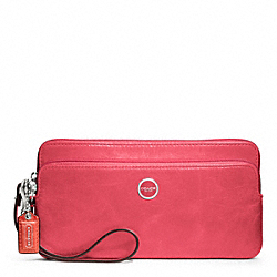 COACH POPPY LEATHER DOUBLE ZIP WALLET - SILVER/CAMELIA - F47894