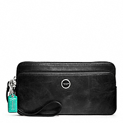 COACH POPPY LEATHER DOUBLE ZIP WALLET - SILVER/BLACK - F47894