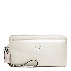 COACH POPPY LEATHER DOUBLE ZIP WALLET - SILVER/PARCHMENT - F47894