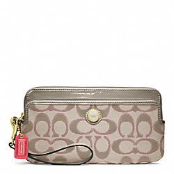 POPPY SIGNATURE SATEEN METALLIC DOUBLE ZIP WALLET - f47897 - 16865