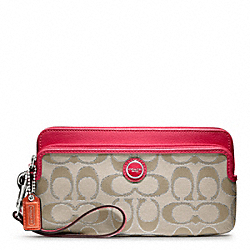 POPPY SIGNATURE SATEEN METALLIC DOUBLE ZIP WALLET