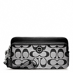 COACH POPPY SIGNATURE SATEEN METALLIC DOUBLE ZIP WALLET - ONE COLOR - F47897