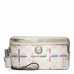 COACH POPPY TATTERSALL DOUBLE ZIP WALLET - ONE COLOR - F47911