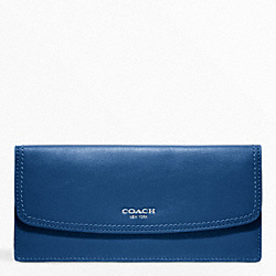 COACH LEATHER SOFT WALLET - SILVER/COBALT - F47990