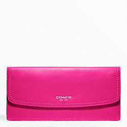 COACH LEATHER SOFT WALLET - SILVER/FUCHSIA - F47990