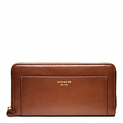 COACH LEATHER ACCORDION ZIP WALLET - BRASS/COGNAC - F47996