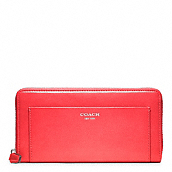 COACH LEATHER ACCORDION ZIP WALLET - SILVER/BRIGHT CORAL - F47996