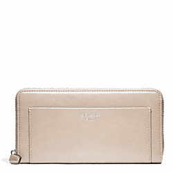 COACH LEATHER ACCORDION ZIP WALLET - SILVER/LIGHT GOLDGHT SAND - F47996