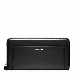 COACH LEATHER ACCORDION ZIP WALLET - SILVER/BLACK - F47996