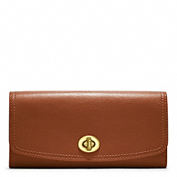 LEATHER SLIM ENVELOPE - f48003 - BRASS/COGNAC