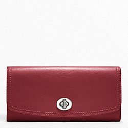 COACH LEATHER SLIM ENVELOPE - SILVER/BLACK CHERRY - F48003