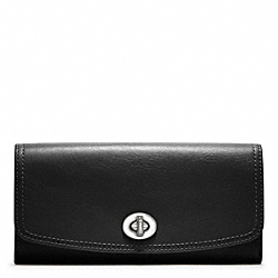 LEATHER SLIM ENVELOPE - f48003 - SILVER/BLACK