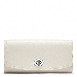 COACH LEATHER SLIM ENVELOPE - SILVER/PARCHMENT - F48003