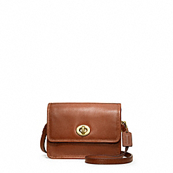 COACH LEATHER MINI MINI CROSSBODY - BRASS/COGNAC - F48005