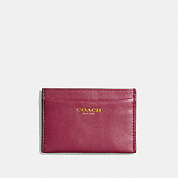 COACH LEATHER CARD CASE - BRASS/DEEP PORT - F48010