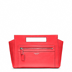COACH LEATHER BASKET CLUTCH - SILVER/BRIGHT CORAL - F48012