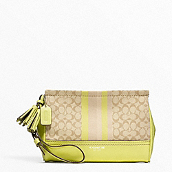 COACH SIGNATURE STRIPE LARGE WRISTLET - SILVER/LIGHT GOLDGHT KHAKI/CITRINE - F48014