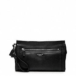 COACH LEATHER LARGE CLUTCH - SILVER/BLACK - F48021