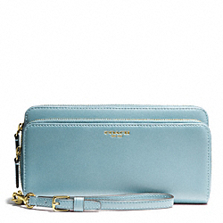 COACH LEATHER DOUBLE ACCORDION ZIP - ONE COLOR - F48026