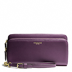 DOUBLE ACCORDION ZIP WALLET IN LEATHER - f48026 - BRASS/BLACK VIOLET