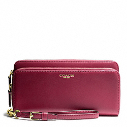 COACH LEATHER DOUBLE ACCORDION ZIP WALLET - BRASS/DEEP PORT - F48026