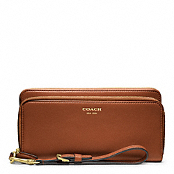 COACH LEATHER DOUBLE ACCORDION ZIP WALLET - BRASS/COGNAC - F48026