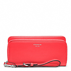 COACH LEATHER DOUBLE ACCORDION ZIP - SILVER/BRIGHT CORAL - F48026