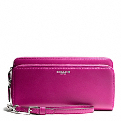 COACH LEATHER DOUBLE ACCORDION ZIP WALLET - SILVER/BRIGHT MAGENTA - F48026