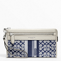 COACH SIGNATURE STRIPE ZIPPY WALLET - ONE COLOR - F48028