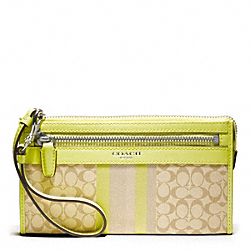 COACH SIGNATURE STRIPE ZIPPY WALLET - SILVER/LIGHT KHAKI/CITRINE - F48028