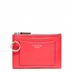 COACH LEATHER MEDIUM SKINNY - SILVER/BRIGHT CORAL - F48030