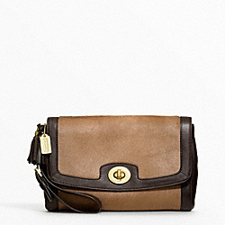COACH PINNACLE LARGE FLAP CLUTCH - BRASS/CAMEL - F48042