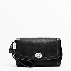 COACH PINNACLE LARGE FLAP CLUTCH - SILVER/BLACK - F48042