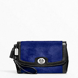 COACH PINNACLE LARGE FLAP CLUTCH - SILVER/COBALT - F48042