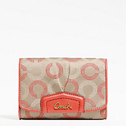 COACH ASHLEY DOTTED OP ART COMPACT CLUTCH - BRASS/KHAKI TEAROSE/TEAROSE - F48047